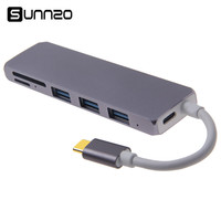 Type C to USB3.0 Adapter USB C to USB 3.0*3 USB 3.1 (PD) Converters Micro SD Card Reader Multiport Hub Adapter For MacBook Air