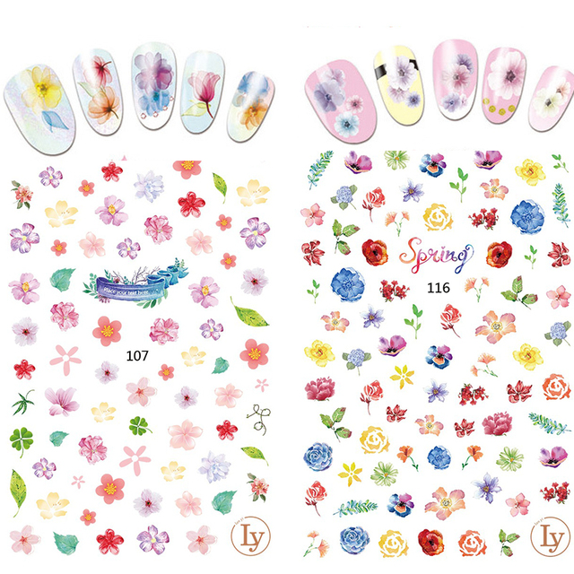 2017 French Manicure Cartoon Spring Flowers Nail Stickers For Nails
