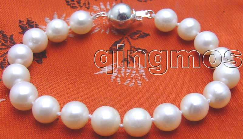 9-10mm High quality Natural FreshWater PEARL 7.5 BRACELET With 10mm STERLING SILVER CLASP-bra3721 wholesale/retail Free ship