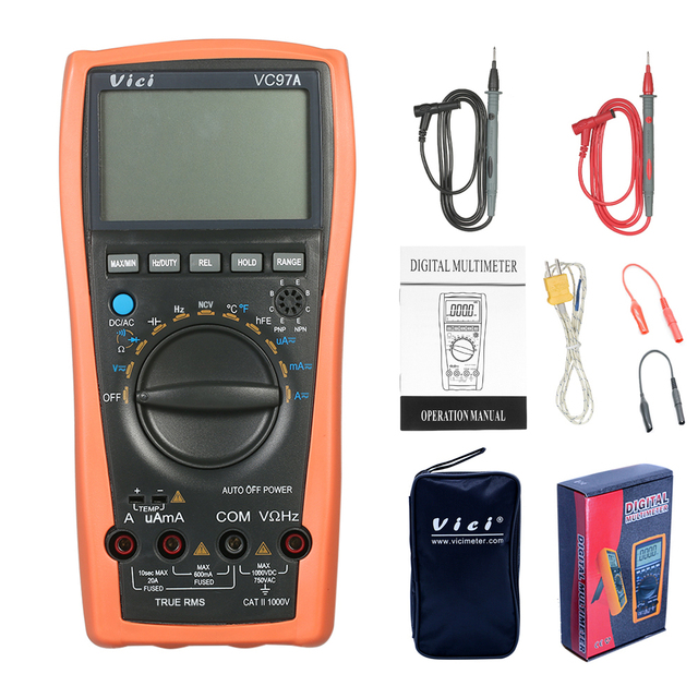 VC97A New VC97 Digital Multimeter Auto Range 1000V DMM Temperature Detector DC AC Voltage Current Meter Capacitance