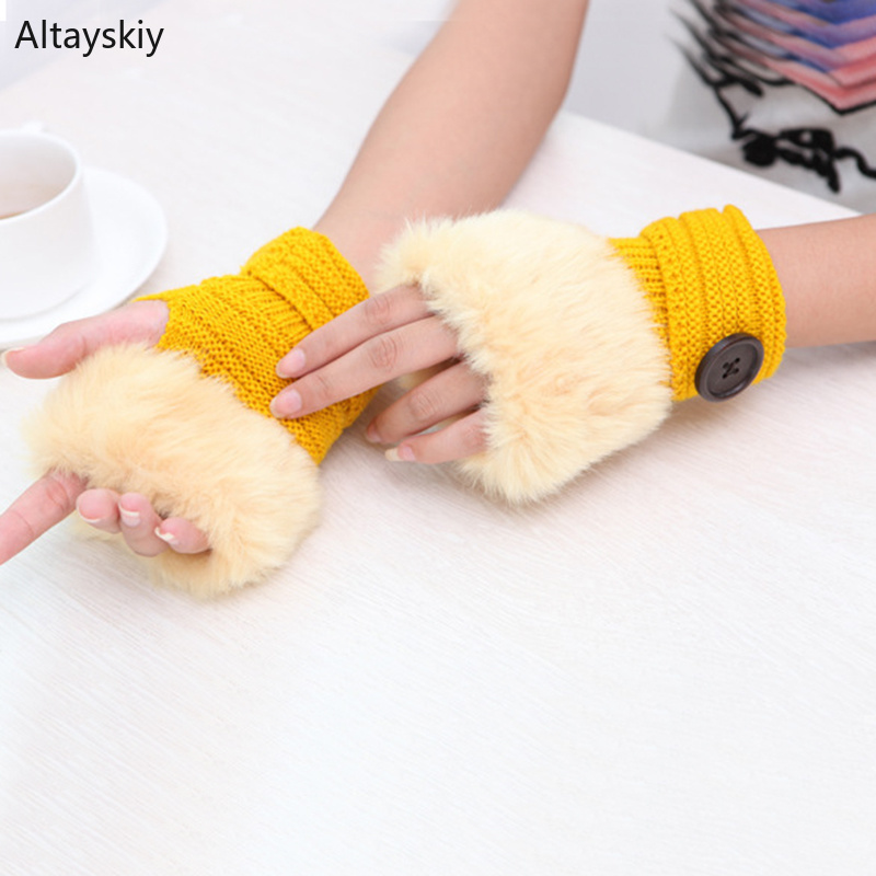 Arm Warmers Women Solid Knitting Single Button Faux Rabbit Fur Plush Kawaii Womens Mitts Half-fingered All-match Warm Trendy New