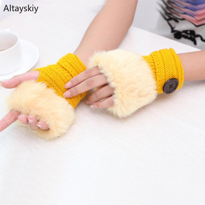 Arm Warmers Women Solid Knitting Single Button Faux Rabbit Fur Plush Kawaii Womens Mitts Half-fingered All-match Warm Trendy New