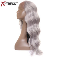 Silver Grey Lace Front Wigs With Baby Hair Long Body Wave Kanekalon Free Part Synthetic Hair Full Wigs For Black Women X TRESS