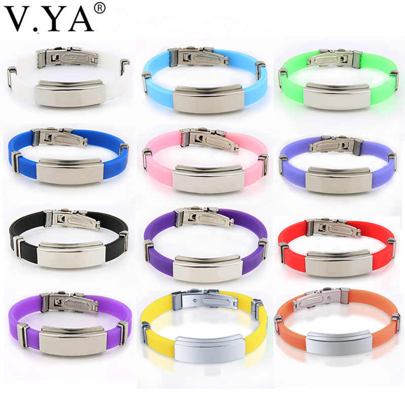 V.YA Stainless Steel Bracelets For Women Men Fashion Customized Logo ID Name Jewelry Silicone Bracelets Couple Valentine's Gifts