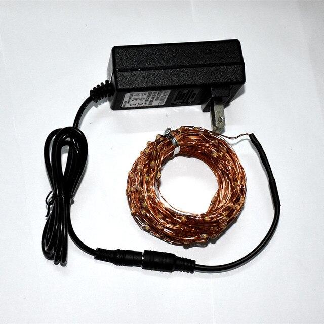 1X30 m 300 LED Fio de Cobre LED String Luzes Estrelado Luz DC24V 1A Fada Luzes de Natal Ao Ar Livre + REINO UNIDO/EUA/EU/AU Plug Adaptador de Energia