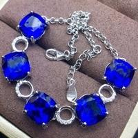 Premium Sapphire Bracelet.The main stone is 5A sapphire.Gem size square 8*8mm!925 silver Seiko mosaic