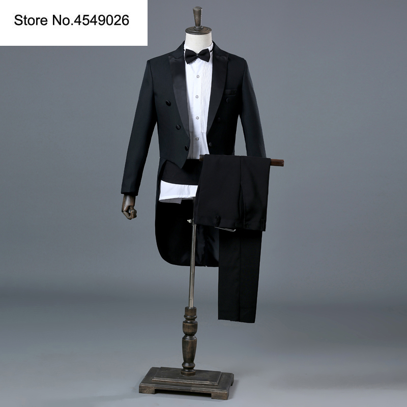 4 Pieces Set England Gentleman Black White Groom Wedding Tuxedos Suits For Men Classic Tail Coat With Pants Slim Fit Tuxedo