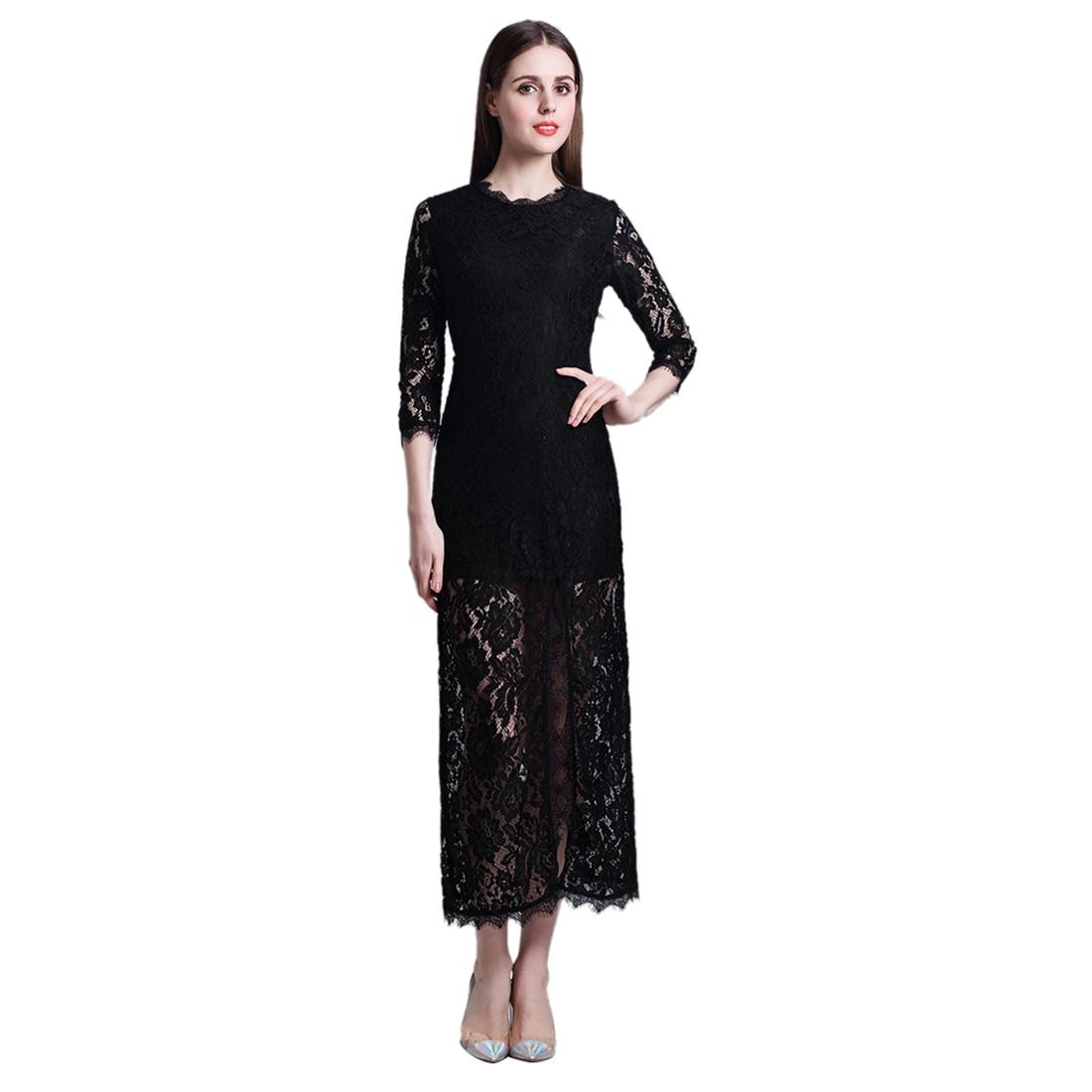TFGS Original Design Women Hollow Out Lace Long 3 4 Sleeve Split Dress Women Amazing Party