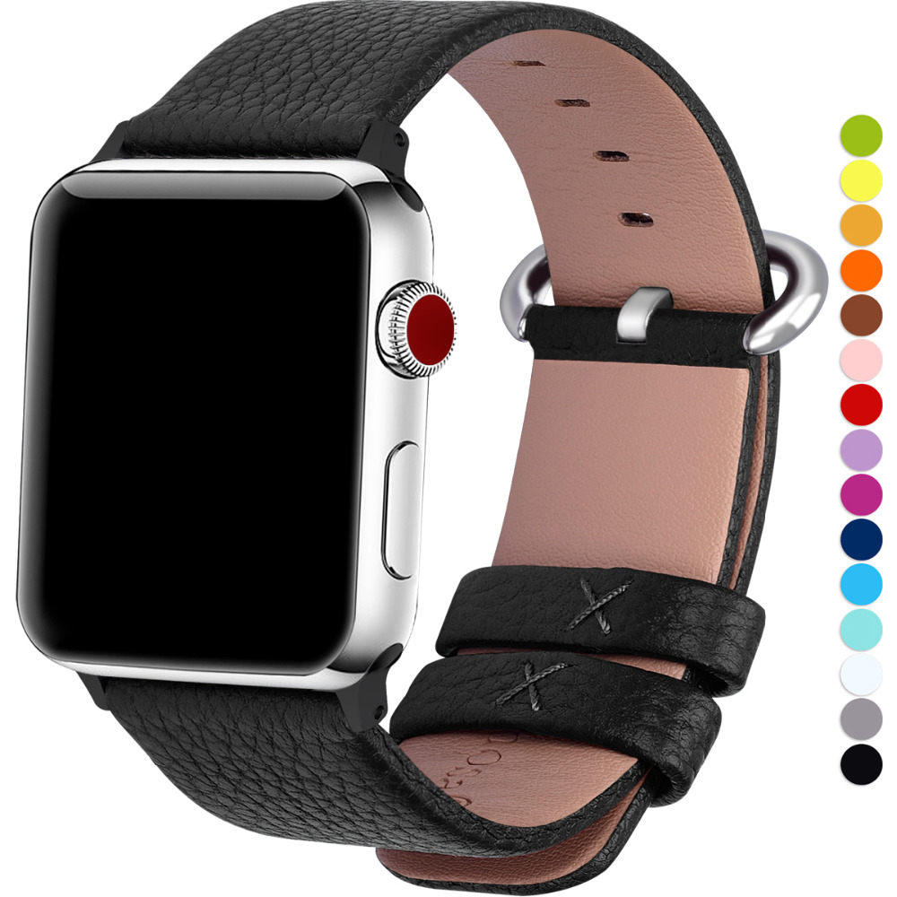 15 Colors genuine leather for Apple Watch Bands Series 4/3/2/1, watchbands iWatch Strap for apple watch 44mm 40mm 42mm 38mm цвета apple watch 4