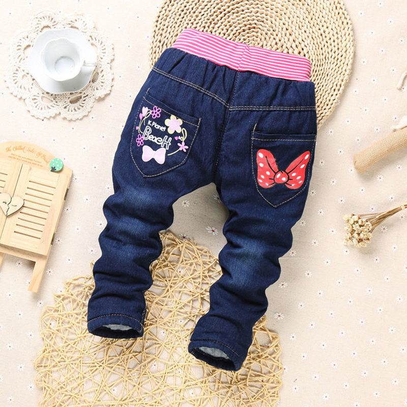 2019 New winter Children Cartoon Cat jean embroidery kids thick cotton warm trousers clothes Baby Girls jeans pants 7 style 2-6y