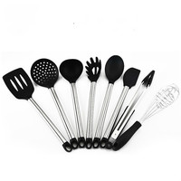 8 Piece of High Temperature Silica Gel Kitchen Utensils, Stainless Steel Tube Handle Shovel and Other Kitchen Tools Accessories