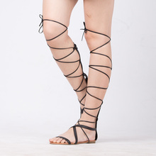 New 2016 Shoes Women Sandals Lace Up Sexy Knee High Boots Gladiator Tie String Casual Flat Designer Top Quality Size 4-10