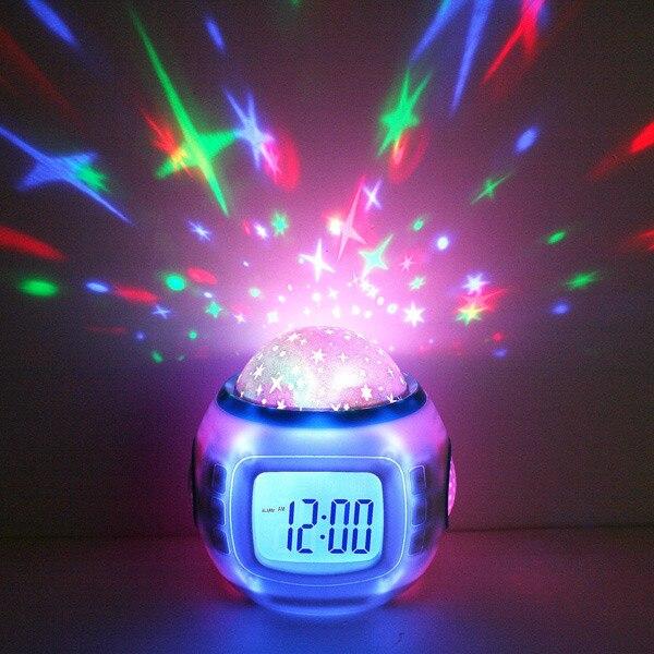 E74 Home Decor Music Starry Star Sky Digital Clock Led Projection Projector Alarm Clock Calendar Night Light Color Changing