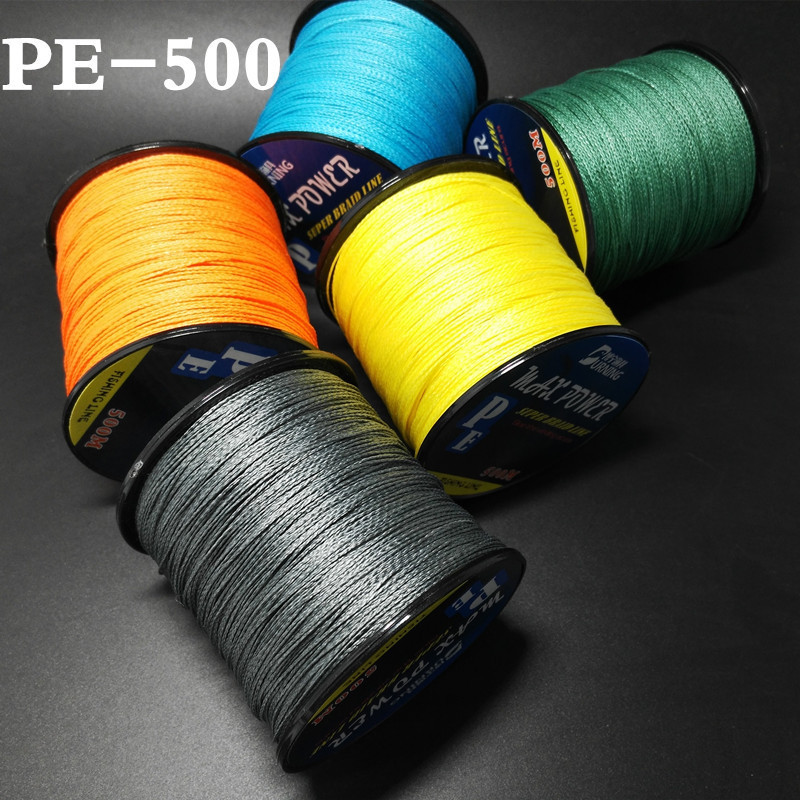 Braided Fishing Line with 6 Strands, Fishing Line PE Material 546Yds/500M with multiple colors for Freshwater and Saltwater