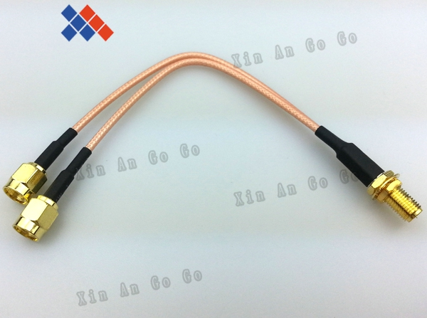 UHF Female BULKHEAD to Y type 2X SMA Male Splitter Combiner cable pigtail RG316