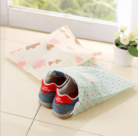 HK Post Free Shipping 10pcs/lot Cute Printing Shoe Storage Bag Non Woven  Fabric