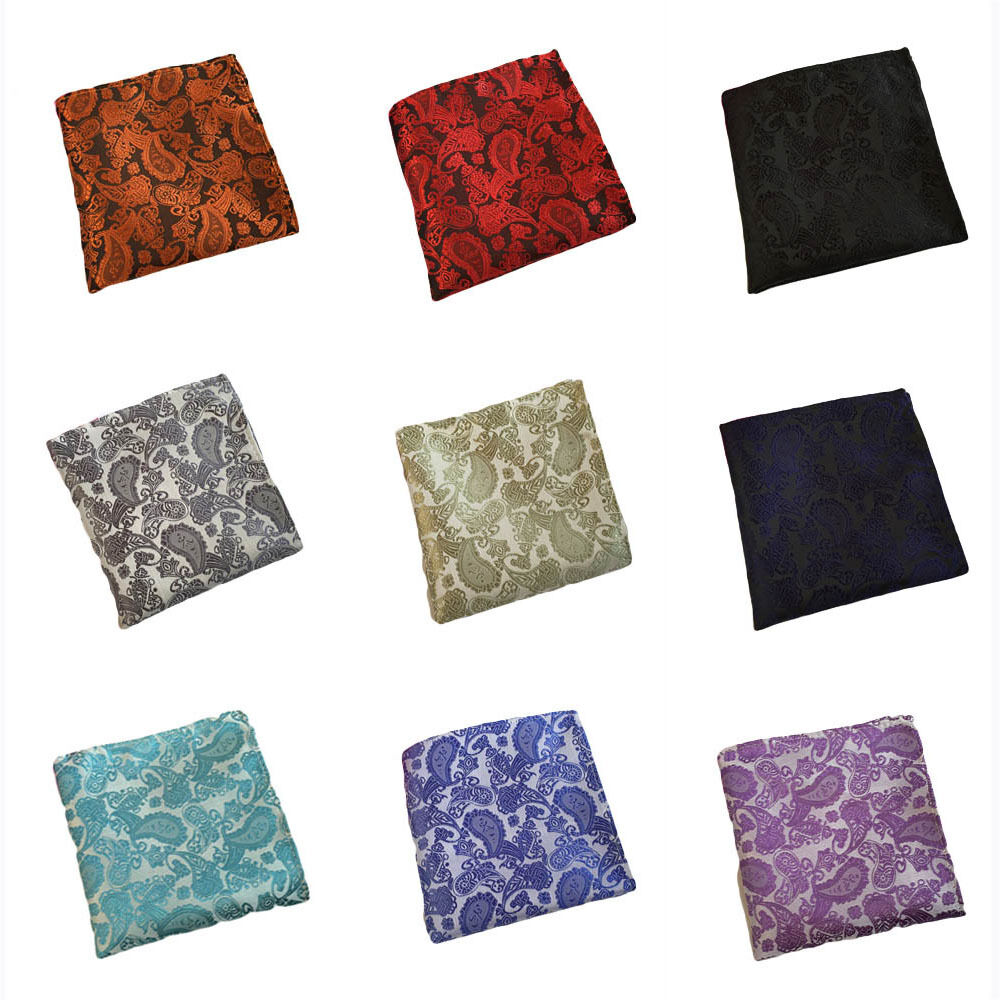 Mens Classic Flower Paisley Pocket Square Handkerchief Wedding Party Hanky HZTIE0192