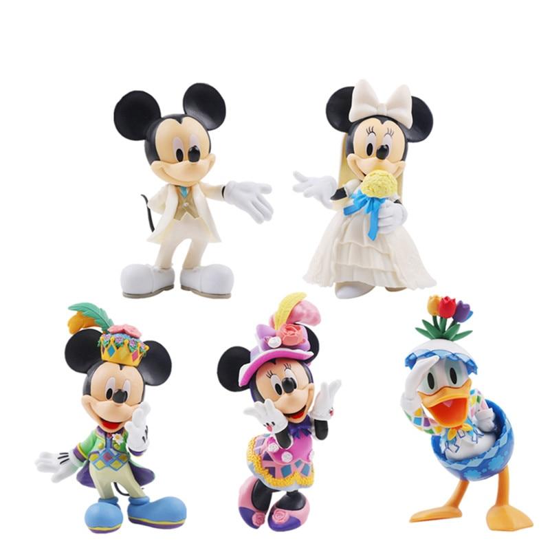 Disney Anime Figure Mickey Mouse Minnie Princess Donald Duck Action Figure Toys Figurine Disney Kawaii Doll ChildrenToy Gift