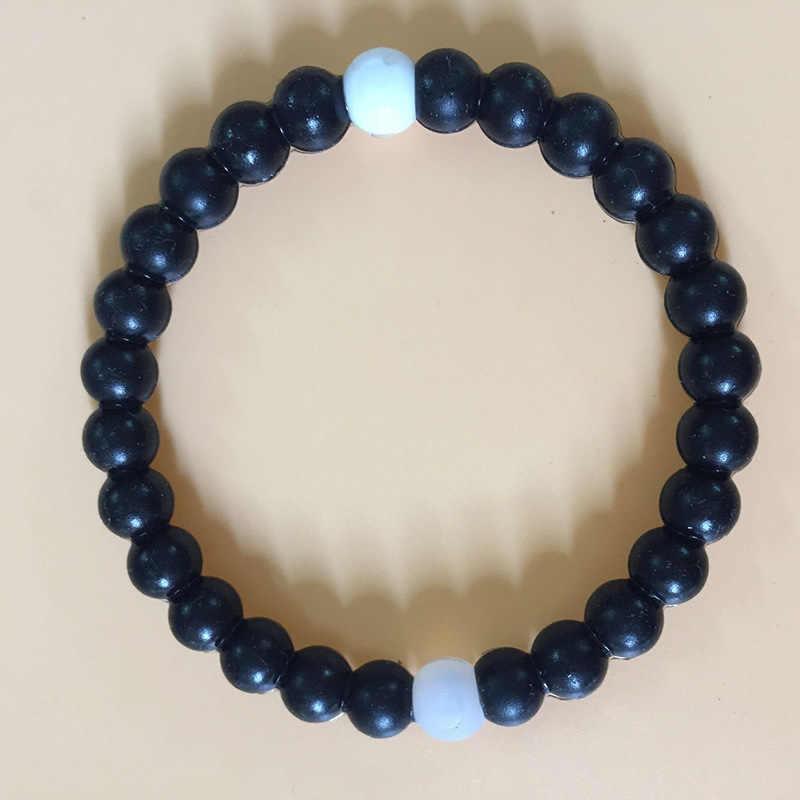 Модные Простые Акула Радуга капли воды синий Морской стиль Черный и белый цвета Инь и Ян бусы из бисера браслет для женщин или человек
