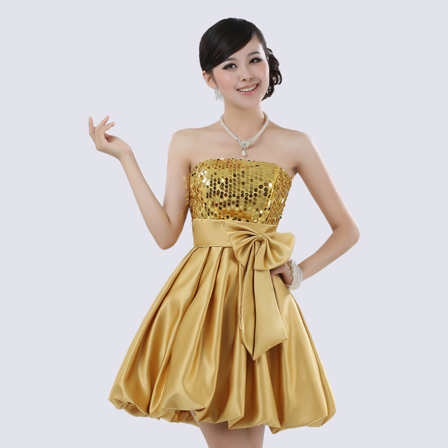 Beige Red Blue Gold Shiny Sequin Satin Ball Gown Prom Dress Sexy Strapless  Bow Mini Short Party Bridesmaid Dress fd2e94163897