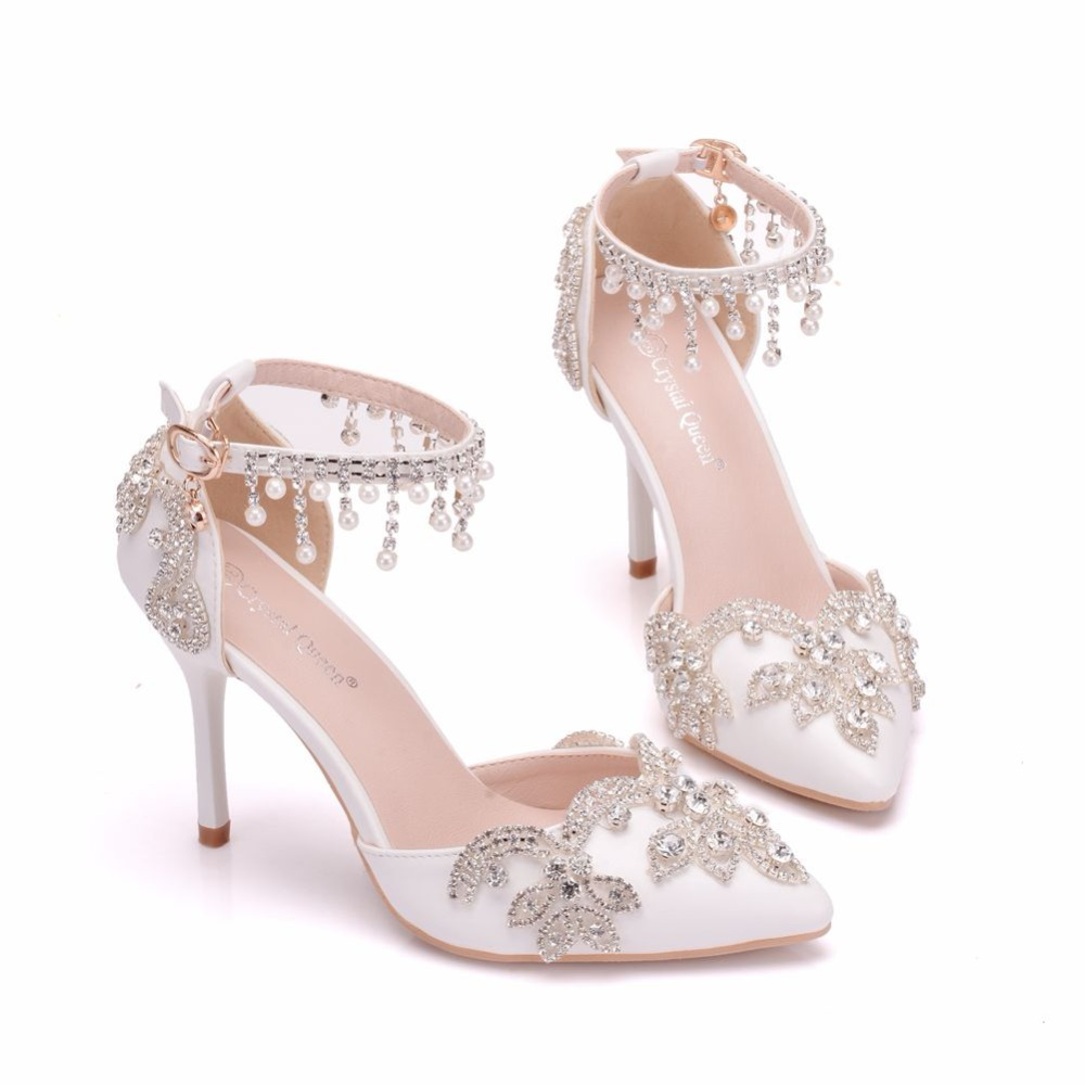 9541359ed023 Crystal Queen Women Sandals Thin Heels Pointed Toe Shoes White Rhinestone  Wedding Bridals Shoes Plus Size 42 -in High Heels from Shoes on  Aliexpress.com ...