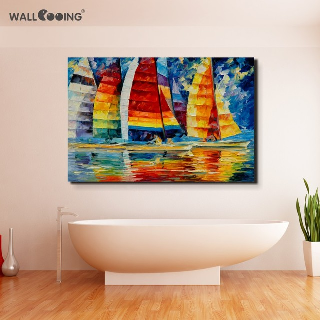 100% Hand-painted Palette Sailboat Landscape Oil Painting Venice Pictures On Canvas Paintings