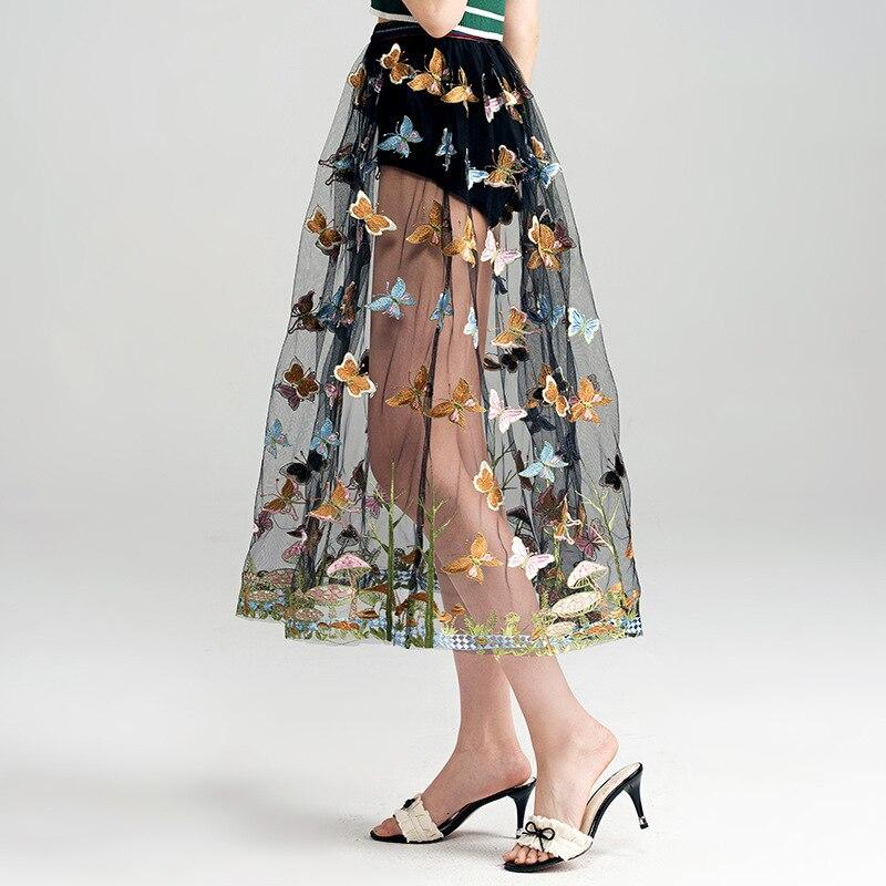 Papillon Mesh 5439 Dernières Plage Vacances Jupe Longueur De 2017 Mode Jupes Été Cheville Broderie Femmes Empire 7dvZwBx
