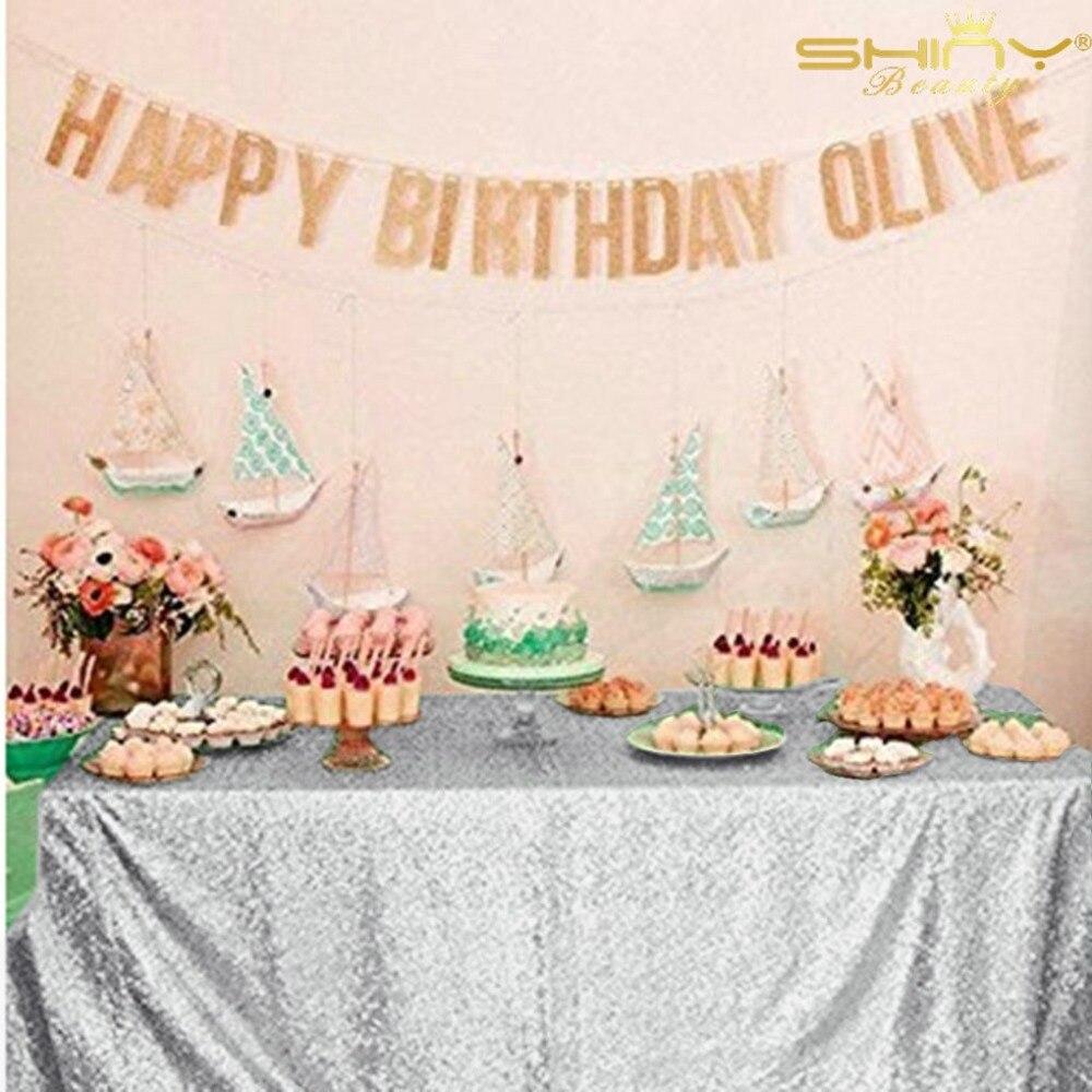 60 * 102 дюймов (150 * 260 см) серебро / золото / темно-синий / розовый / шампанское блесток скатерть на свадьбу / рождество / вечеринка / день рождения