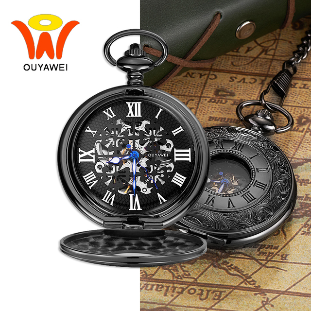 Ouyawei Black Mechanical Pocket Watch With Chains Skeleton Dial Men Clock Necklace