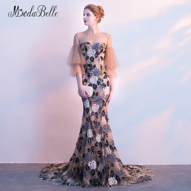 69a2a697dc0 modabelle Flowers Mermaid Prom Dresses With Sleeves 2018 Vestidos Longos  Formatura See Through Floral Elegant Evening Gown