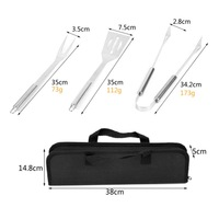 Outdoor Barbecue Accessories Stainless Steel BBQ Grill Tool Kitchen With Canvas Storage Bag 20Pcs
