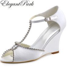 470d9bff30ac Woman Summer Sandals MC-032 Peep Toe Wedges Heels T-strap Rhinestones Satin Pumps  Bride Bridesmaid Wedding Evening Bridal Shoes