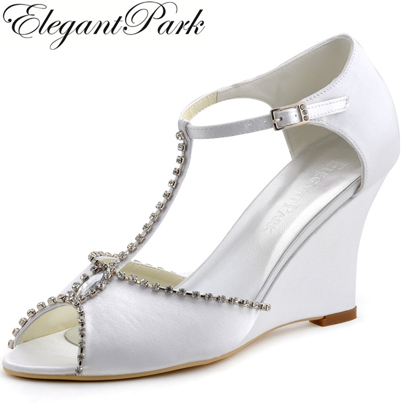 Woman Summer Sandals MC-032 Peep Toe Wedges Heels T-strap Rhinestones Satin Pumps Bride Bridesmaid Wedding Evening Bridal Shoes free shipping ep2114 3 white women peep toe evening bridal party pumps sandals rhinestones satin wedding shoes