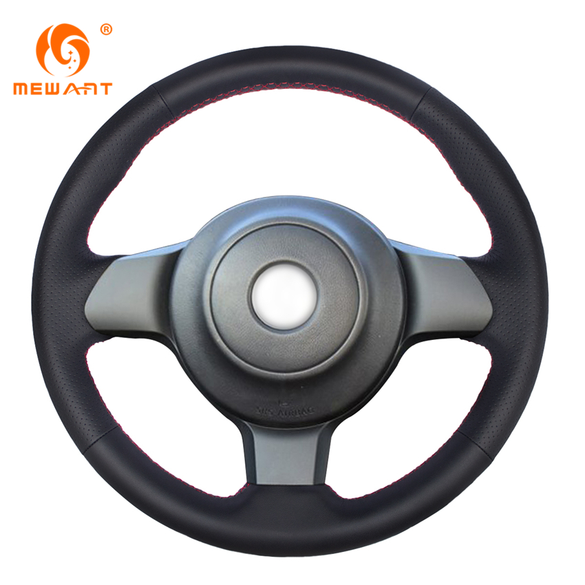 MEWANT Black Genuine Leather Car Steering Wheel Cover for Toyota 86 2016 2017 Subaru BRZ 2016 2017 runba ice silk steering wheel cover sets with red thread