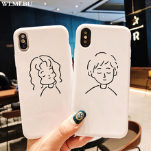 WLMLBU Boy and Girl Case For iPhone 7 Plus X XR XS MAX Glossy Patterned Cute Cover Couple White 6S 6 8