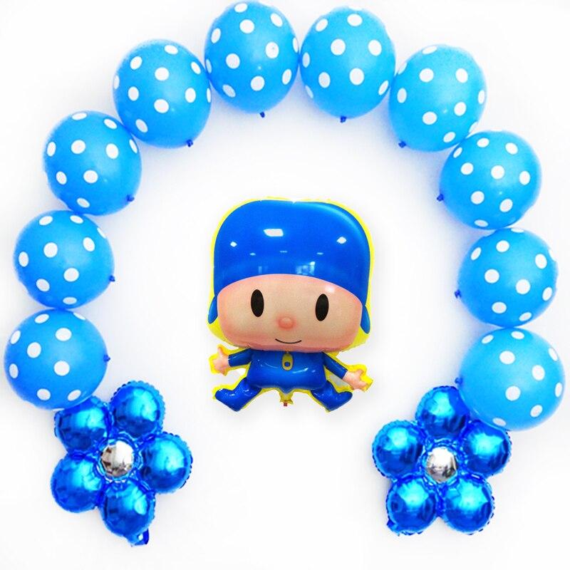 13pcs/lot pocoyo balloon set with blue flower latex balloons pocoyo for child birthday balloons party supply