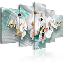 5 Pieces HD Wall Art Fresh white magnolia flower abstract Blue background Canvas  Home Decoratives Paintings Framed PJMT- (27)
