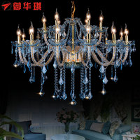 Longree Amber color led crystal chandelier lamps with fabric lampshades wholesale price crystal candle chandelier lights