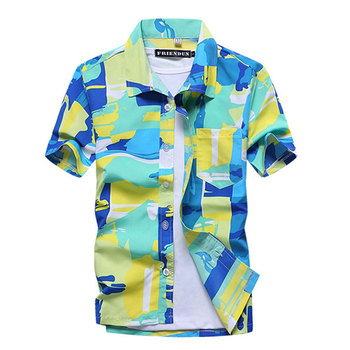 Mens Summer Fashion Beach Hawaiian Shirt Brand Slim Fit Short Sleeve Floral Shirts Casual Holiday Party Clothing Camisa Hawaiana 3