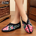 Fashion flowers embroidered shoes women retro simple ladies Chinese oxford shoes for women flat shoes women working