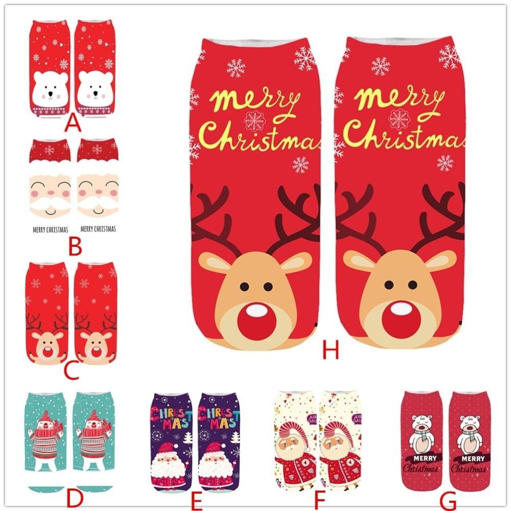 Christmas Socks Women Funny Skarpetki Harajuku Kawaii Cartoon Party Of Socks Novelty Print Ankle Sock Calcetines Dropshipping