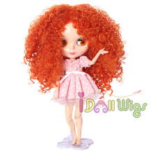 Hot Item Orange Long Afro Wavy Doll Wig for Bly the Doll hot sell free shipping very beautiful doll long wig hair doll hot selling present for children