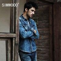 Simwood 2017 באיכות גבוהה גברים חולצות ג 'ינס Camisa Masculina Slim אופנה שרוול ארוך חולצה מזדמן Mens חולצות ג' ינס בתוספת גודל