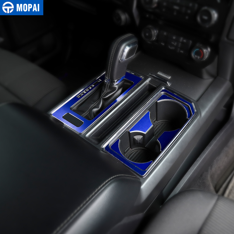 Image 3 - MOPAI Car Interior Gear Shift Panel Front Rear Cup Holder Decoration Cover Sticker for Ford F150 2016 Up Car Accessories Styling-in Interior Mouldings from Automobiles & Motorcycles