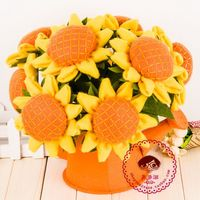 Children Thread Embroidery Whole Set Sunflower DIY Handmade Toys Kids Adult 9 PCs Flowers With Pot