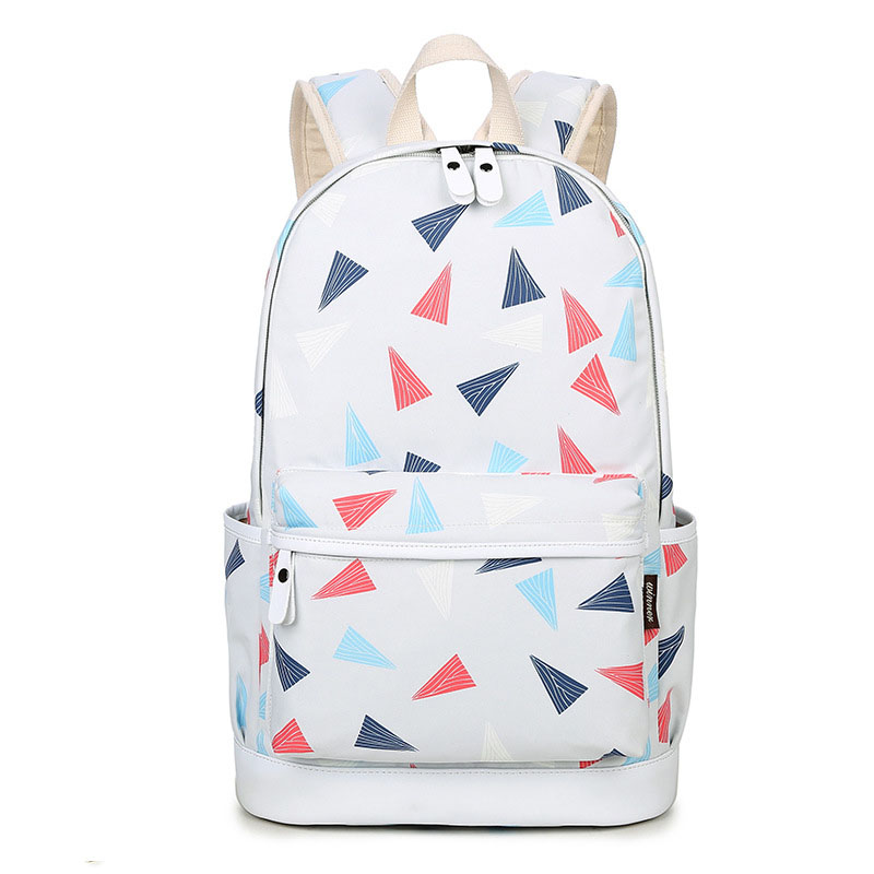 QOKR women canvas backpack triangle printing schoolbag teenagers girls for 14 inch laptop rucksacks big capacity shoulder bags ...
