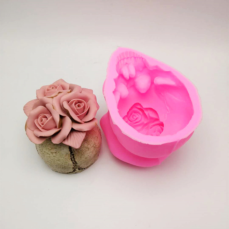 Image 5 - 3D Rose skull silicone mold diy candle plaster silicone mold Halloween decoration tools-in Cake Molds from Home & Garden