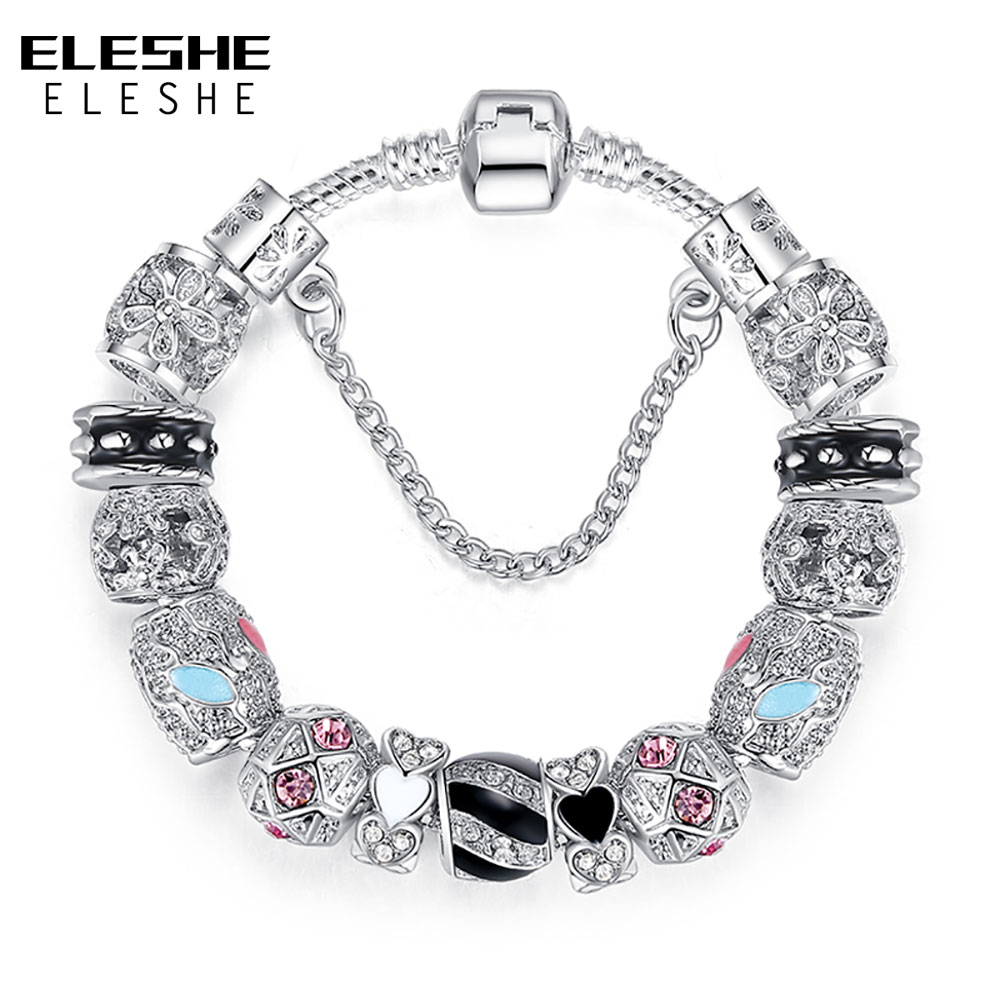 ELESHE Vintage Silver Strand Bracelet with Crystal Flower Heart Charms Bracelets Bangles for Women Fashion DIY Jewelry