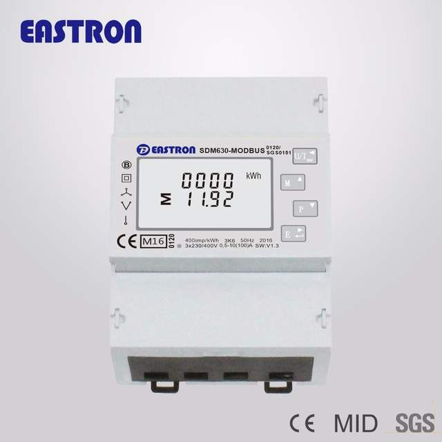 US $73 0 |SDM630Modbus V1 Three Phase Four Wire Din Rail Energy Meter,  RS485 Modbus RTU and Pulse Output, CE approved NON MID-in Energy Meters  from
