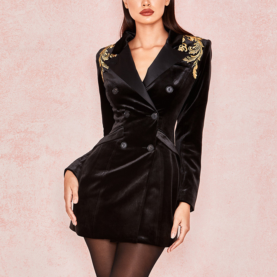 Adyce 2019 New Spring Women Slim Long Sleeve Fashion Club   Trench   Coats Sexy V Neck Black Double Breasted Celebrity Party Coats